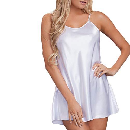 T T Store Sleepwear Gecelik Night Sexy Night Plus Size Nightwear Sleepwear Women Nighty Sleep Wear Mini Dress(White,M)