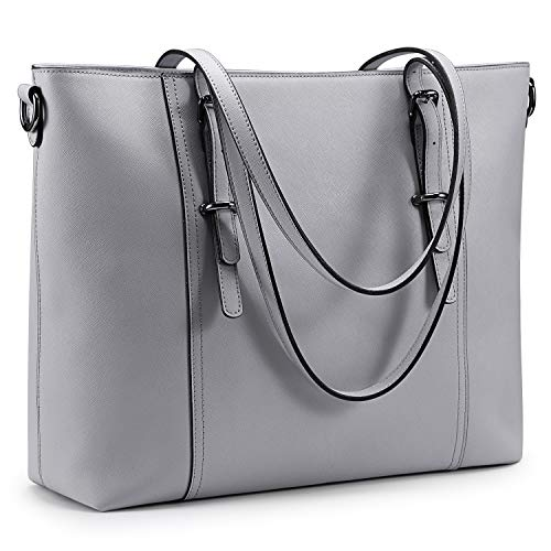 S-ZONE Leather Laptop Bag for Women Fits up to 15.6 inch Business Tote Shoulder Bag Purse ()