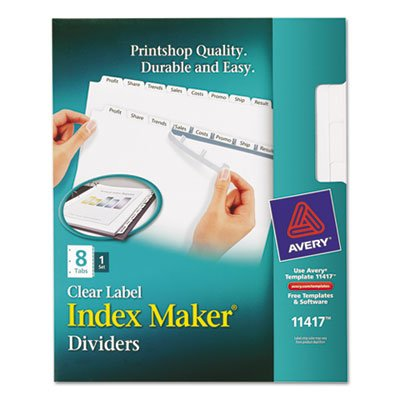 Index Maker Clear Label Dividers, 8-Tab, Letter, White, Total 24 ST, Sold as 1 Carton by Avery