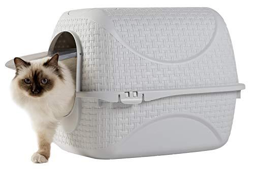Katzentoilette Katzenklo Haubentoilette mit Rattan Optik, Filter und Streuschaufel (Weiß)
