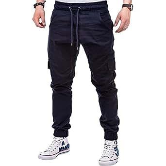 BBsmile Moda Pantalones Hombre Vaquero Pitillo Camuflaje Deporte Color Puro Vendaje Casual Pantalones Hombre Trabajo Bolsillos Pantalones de chándal ...