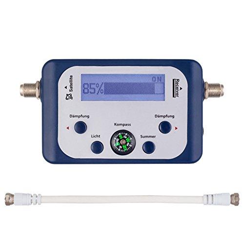 HB DIGITAL SATFINDER mit LCD Anzeige Kompass und Ton + F-Verbindugskabel + Deutsche Anleitung