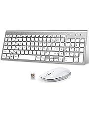 FENIFOX Clavier Souris sans Fil,AZERTY USB 2.4Ghz Ergonomique2400 DPI pour macOS Windows, PC, Smart TV, Ordinateur Portable Blanc+Argent