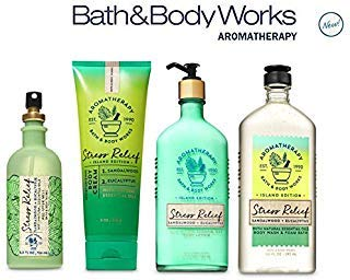 Bath and Body Works SANDALWOOD EUCALYPTUS Deluxe Spa Set Aromatherapy STRESS RELIEF ~ Body Wash & Foam Bath - Body Lotion ~ All Over Mist & Body - Set Eucalyptus Gift