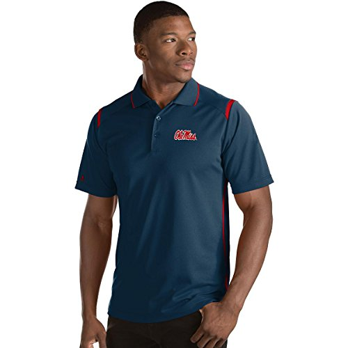 ANTIGUA MEN'S OLE MISS REBELS MERIT POLO SHIRT NAVY/RED (Antigua Red Classic Shirt)