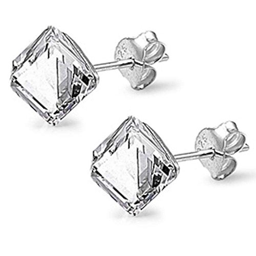 Clear Color Cube Swarovski Crystal .925 Sterling Silver Earring SEC5354