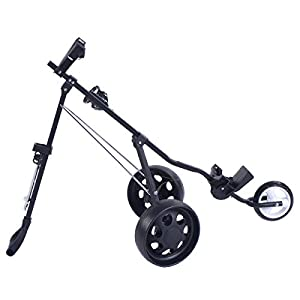 A&T Golf Push Cart 3 Wheels Folding Trolley Swivel with Cup Holder Golf Pull Cart
