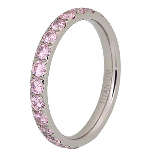 - iTungsten 3mm Titanium Rings for Women Men Eternity Wedding Engagement Band Light Pink Cubic Zirconia Inlay Comfort Fit