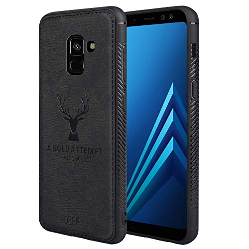 - Samsung A8 2018 Case Samsung A8 2018 Phone Case with Deer Pattern Inspirational Shockproof Anti-Fall TPU Soft Edge and Fabric Back Cover Protective Case for Samsung A8 2018 Cover Anti-fingerprit