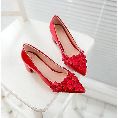 Talones de las mujeres Primavera Verano Otoño Invierno Otro PU de fiesta y noche del vestido ocasional de tacón grueso Flor Rojo Beige Negro Beige