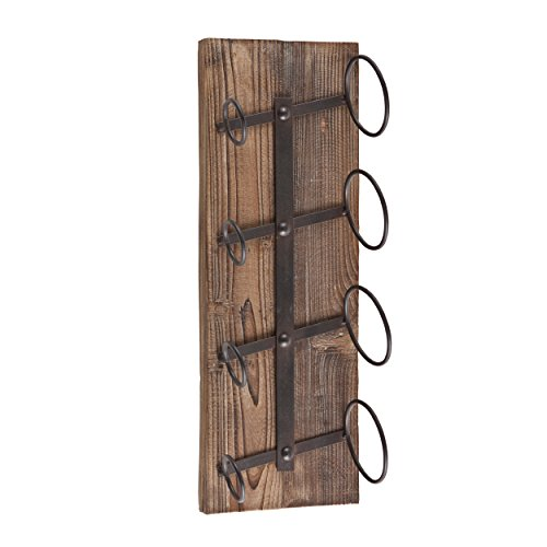 Southern Enterprises 5 Bottle Weathered Wood Wine Holder, Oak