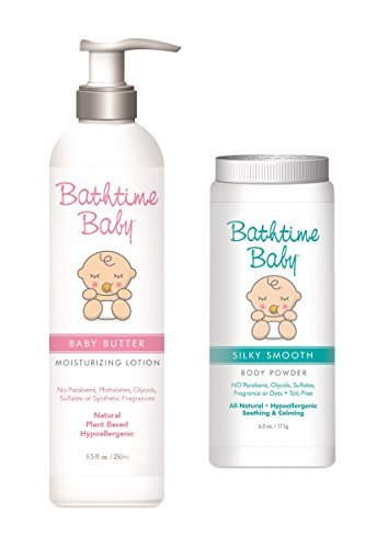 Bathtime Baby Natural Baby Butter Moisturizing Lotion & Baby Powder Set - Toxin Free, Sulfate Free, No Artificial Fragrances, Hypoallergenic – 8.5 oz & 3.5 - Uva Uba
