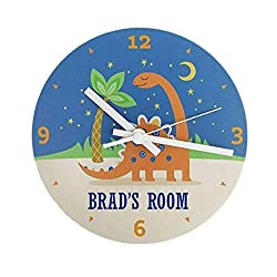 Personalized Kids Wall Clock 8 Inch - Colorful Kids Room Wall Decor, Unique Kids-Gifts (Brad Design)