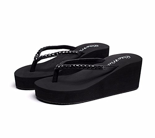 flops slippers slippers female water flip heel bottom XIAOGEGE cold slippers Black thick High slippers drill xBTWqO