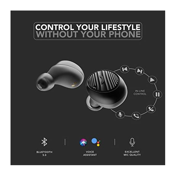 Boult Audio AirBass LiveBuds True Wireless Earbuds with 18H Total Playtime, Extra Bass, IPX5 sweatproof, Voice Assistance, Noise Isolation and Mic (Black)