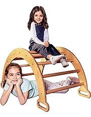 قوس السلم الخشبي للتسلق من جوديفاس - منتخب الصالة الرياضية للأطفال الصغار من مونتيسوري - متسلق سلّم لعب الأطفال، صديق للبيئة - والدورف روكر للأعمار من 4 إلى 17.78 سم.