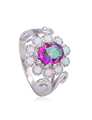 GDMysticS Charming Mystic Topaz Latest White fire Opal Silver Stamped Rings Jewelry A