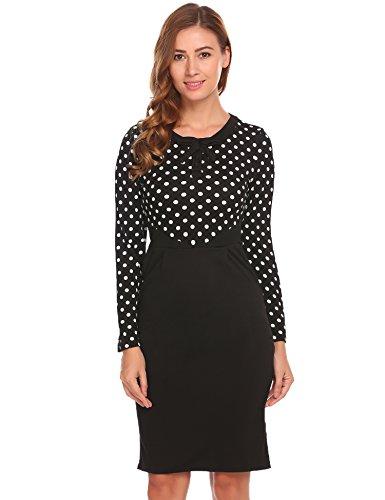 7e0059d04eb ACEVOG Women s Cocktail Wear to Work Bodycon Long Sleeve Pencil Party Dress
