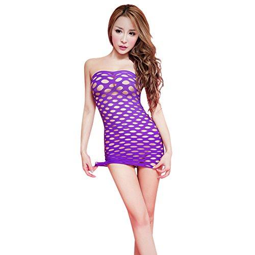 Price comparison product image Kimloog Free Size Sexy Women Lingerie Hollow Out Piece Bodycon Dress (purple)