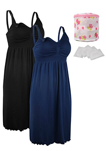 Image of the iloveSIA 2pack Women's Seamless Maternity Breastfeeding Nursing Dress with Build-in Bra Black/Blue Size XL