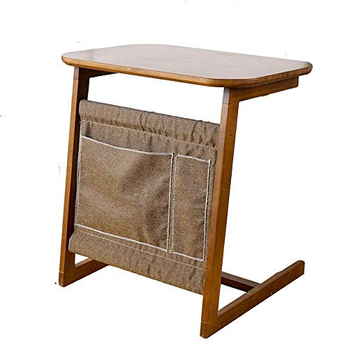 TZSMZDZ Desk Sofa Side Table End Table with Storage Bag Bamboo Snack Moveable Stand in Living Room for Working Writing…