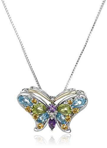 Sterling Silver and 14k Yellow-Gold Multi Gemstone with Diamond-Accent Pendant Necklace (Gem Gold Multi Yellow)
