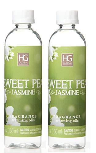 Aromatherapy Hosley's Premium Sweet Pea Jasmine Scented Warming Oils-Set of 2/6 fl oz ea.Made in USA.Free Shipping. Bulk Buy. Ideal Gift for Weddings, Spa, Reiki, Meditation, Bathroom Settings W1