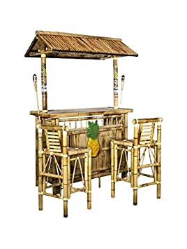 Island Tiki Bamboo Bar with Two Stools and Two Torches