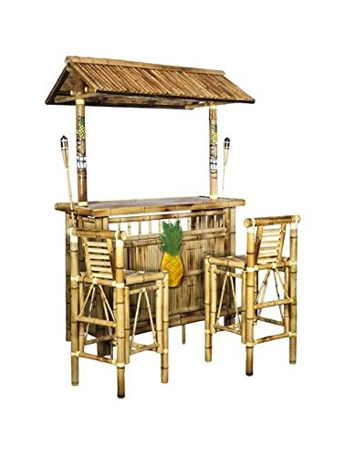 Island Tiki Bamboo Bar with Two Stools and Two ()