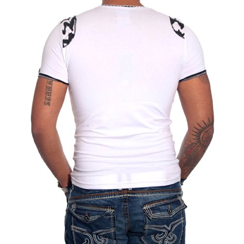 R-NEAL Clubwear Kurzarm Herren V-Neck T-Shirt Kontrast Shirt RTN-16685 NEU, Größe:XXL, Farbe:Weiß