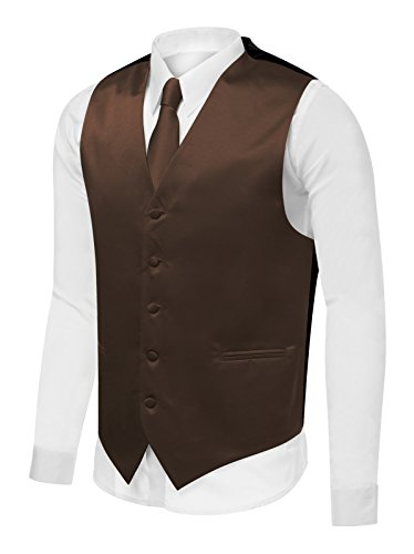 Azzurro Men's Dress Vest Set Neck Tie, Hanky for Suit or Tuxedo,Brown V12,XX-Large