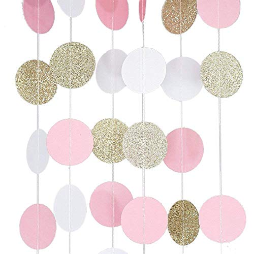 FJSM 5 Pieces White Pink Gold Paper Garland Decorations Crepe Circle Dot Fringe Paper Chain String Garland for Room Birthday Party Wedding Baby Shower Event