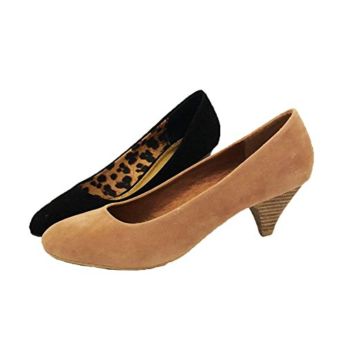 SendIt4Me Suedette Kitten Heel Pointy Toe Court Shoes Black