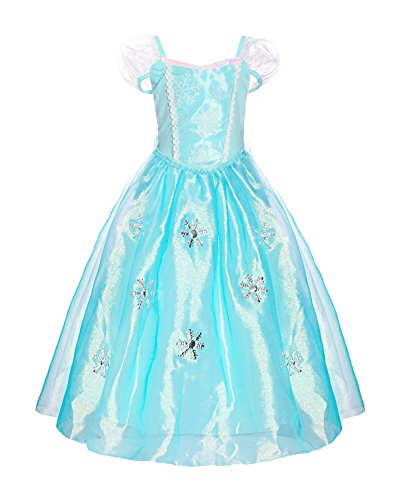 (ReliBeauty Little Girls Organdie Snowflake Elsa Dress up Costume, Puff Sleeve, 5)