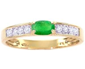 14K Yellow Gold Oval Gemstone and Diamond Anniversary Ring-Emerald, size6.5