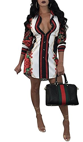 Women's Vintage Chain Floral Print Button Down Long Sleeve Shirt Dress Blouse Top (Small, A-Black) (Shirt Print Vintage Womens)