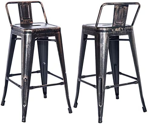 Merax PP038358 Bar Stools Low Back High Feet Indoor and Outdoor 26 Inch Height Metal Chairs Set of 2 Golden Black