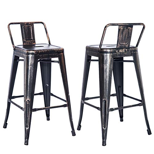 Merax PP038358 Bar Stools Low Back High Feet Indoor and Outdoor 26 Inch Height Metal Chairs Set of 2 (Golden Black) (Barstools 26)