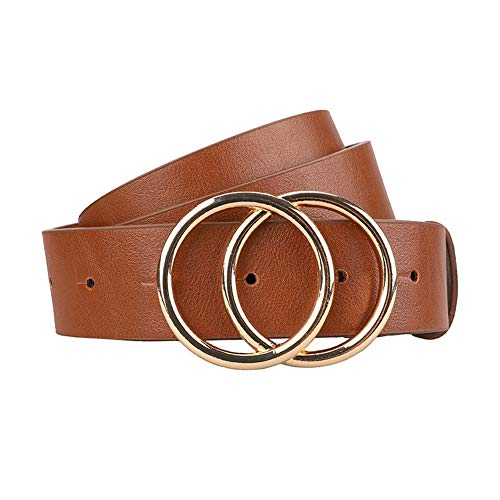 Women's Leather Belt Fashion Style Soft Faux Leather Waist Belts with Gold Double Round Buckle for Pants Jeans Dresses (Brown, L)