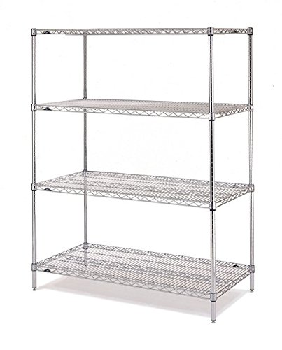 "Metro N356BR Shelving Rack with 4 Super Erecta Wire Shelves, Brite Zinc, 18"" x 48"" x 63"""