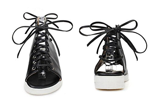Summer Women Open Bottom Trend Lace Roman Toe Up New Shoes Black Hollow Sandals tU6Urw