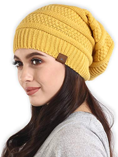 Slouchy Cable Knit Beanie - Chunky, Oversized Slouch Beanie Hats for Men & Women - Stay Warm & Stylish - Serious Beanies for Serious Style (Mustard)