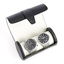 Royce Leather Travel Watch Roll in Genuine Leather, Fits Two Watches - Black