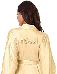 c081eef794 Womens Silk Satin Robe for Wedding Party - Personalized Bride Bathrobe -  Short Kimono Nightgown XS