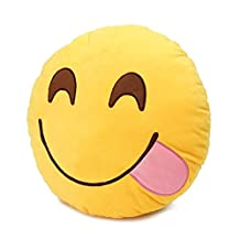 "Round Oi Emoji Smiley Emoticon Cushion Pillow Stuffed Plush Toy Doll Yellow(glutton+free ""Yiwa"" Gifts)"
