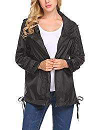 Women's Lightweight Windbreaker Anorak Jacket Waterproof Hooded Raincoat