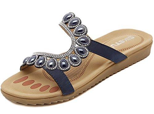Bumud Womens Rhinestone Casual Uitgesneden Platte Sandaal Slipper Blauw