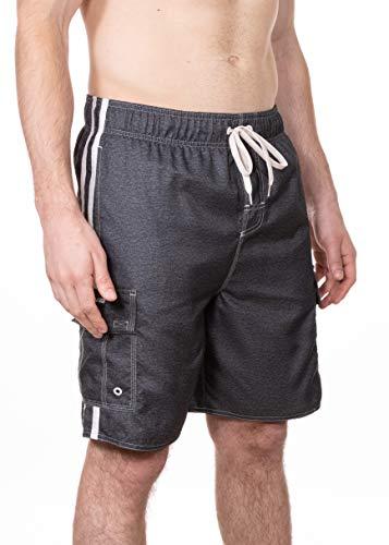 LAGUNA Mens Locked in Cargo Pocket Boardshorts Swim Trunks, UPF 50+, Charcoal, M (Mens Cargo Pocket Swim Trunks)