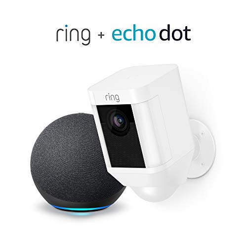 Ring Spotlight Cam Battery Cámara de seguridad HD (blanca) y Echo Dot (4.a generación)
