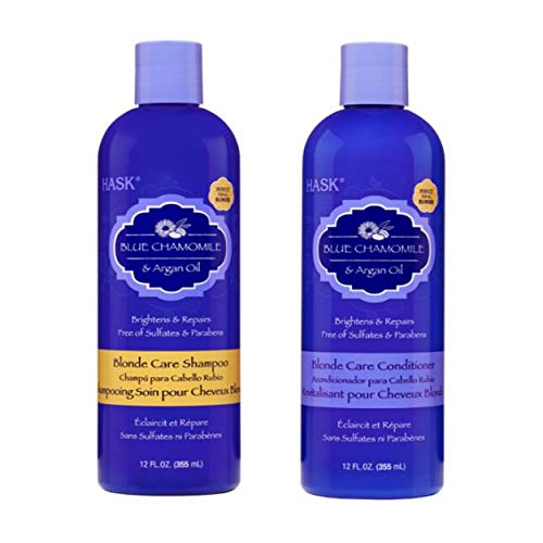 HASK Blue Chamomile & Argan Oil Blonde Care Shampoo and Conditioner (12 US FL OZ) (Purple Shampoo And Conditioner)